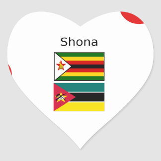 Shona Language And Zimbabwe and Mozambique Flags Heart Sticker