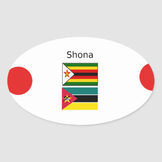 Shona Language And Zimbabwe and Mozambique Flags Oval Sticker