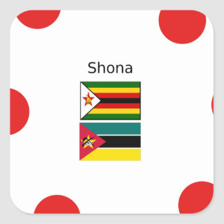 Shona Language And Zimbabwe and Mozambique Flags Square Sticker