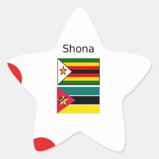 Shona Language And Zimbabwe and Mozambique Flags Star Sticker