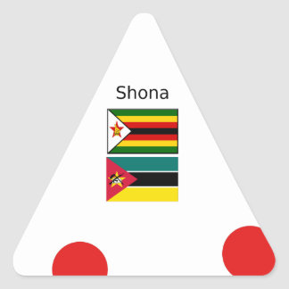 Shona Language And Zimbabwe and Mozambique Flags Triangle Sticker