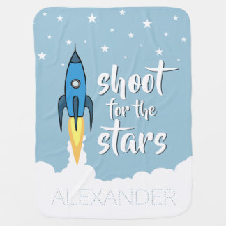 Shoot for the Stars Blue Rocket Ship Inspirational Baby Blanket