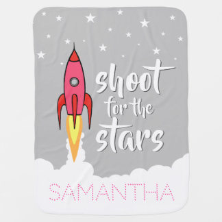 Shoot for the Stars Pink Rocket Ship Inspirational Baby Blanket
