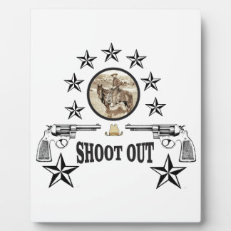 shoot out western art plaque