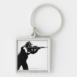 Shooter Silver-Colored Square Key Ring