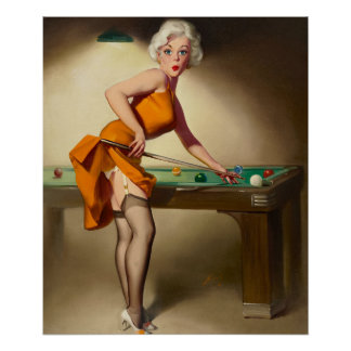 Shooting Billiards Pin Up Art Poster
