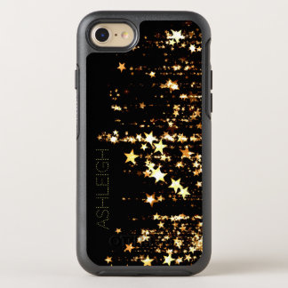 Shooting Gold Stars on Black Personalised OtterBox Symmetry iPhone 8/7 Case
