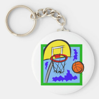 Shooting Hoops Basic Round Button Key Ring