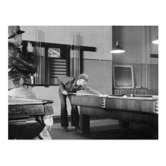 Shooting Pool, 1940 Postcard