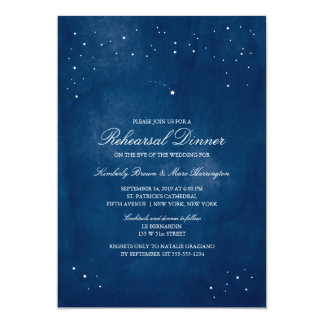 Shooting Star Blue Watercolor | Wedding Rehearsal Card