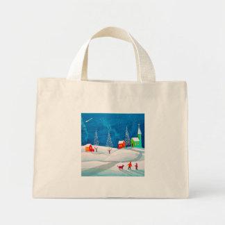 Shooting star folk naive art winter snow scene tote bag