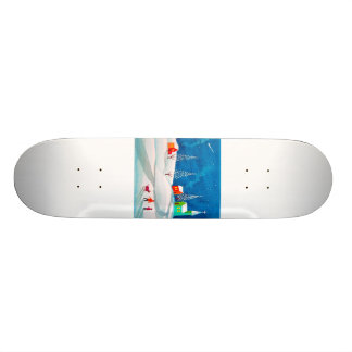 Shooting star folk naive art winter snow scene skate board deck