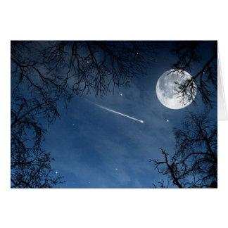 Shooting Star Moon Dark Blue Sky Greeting Card