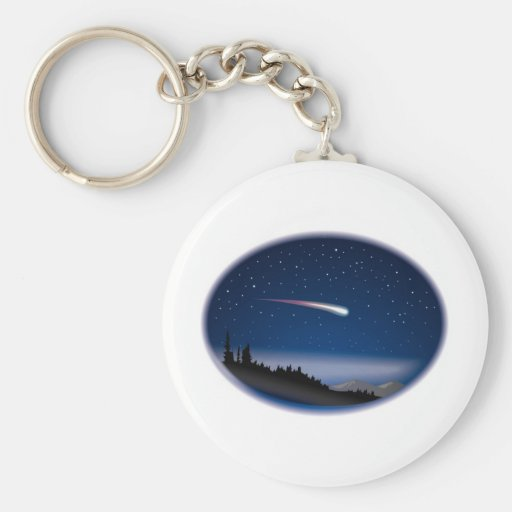 Shooting Star Over Night Landscape Key Chain