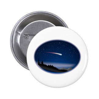 Shooting Star Over Night Landscape Pinback Button