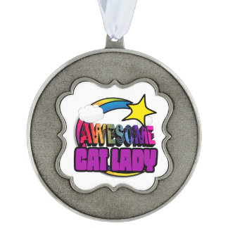 Shooting Star Rainbow Awesome Cat Lady Scalloped Pewter Ornament