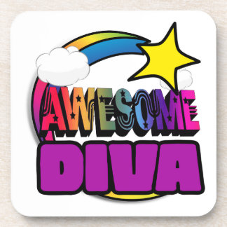 Shooting Star Rainbow Awesome Diva Beverage Coasters