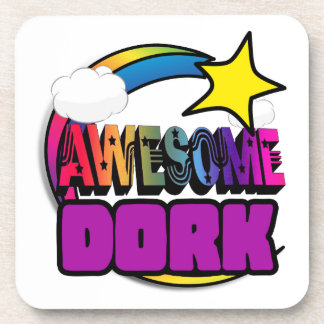 Shooting Star Rainbow Awesome Dork Drink Coasters