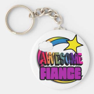 Shooting Star Rainbow Awesome Fiance Keychain