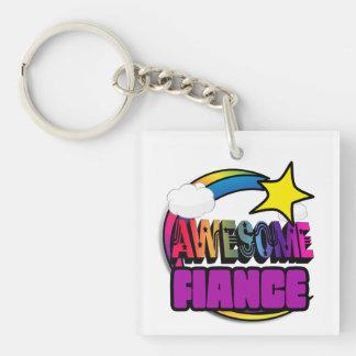 Shooting Star Rainbow Awesome Fiance Square Acrylic Keychain
