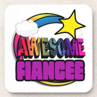 Shooting Star Rainbow Awesome Fiancee Beverage Coaster