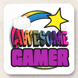Shooting Star Rainbow Awesome Gamer Beverage Coaster