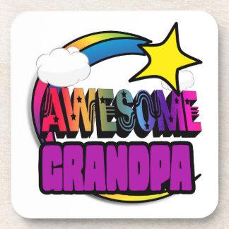 Shooting Star Rainbow Awesome Grandpa Drink Coasters