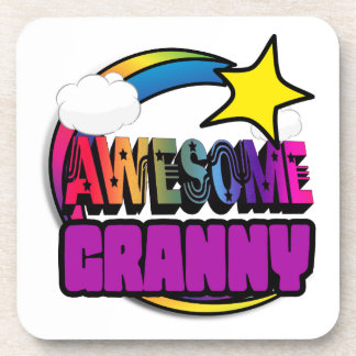 Shooting Star Rainbow Awesome Granny Beverage Coasters