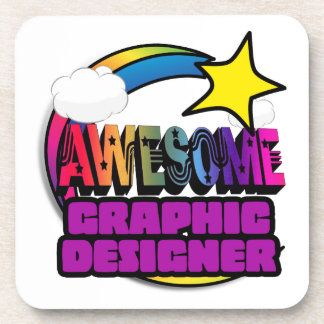 Shooting Star Rainbow Awesome Graphic Designer Drink Coaster