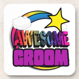 Shooting Star Rainbow Awesome Groom Drink Coaster