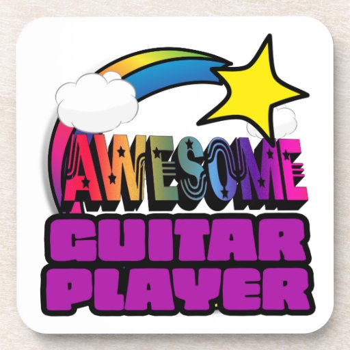 Shooting Star Rainbow Awesome Guitar Player Drink Coaster