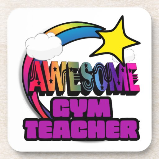 Shooting Star Rainbow Awesome Gym Teacher Beverage Coaster