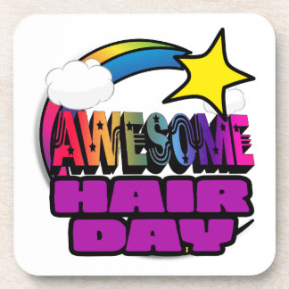 Shooting Star Rainbow Awesome Hair Day Drink Coasters