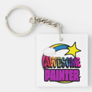 Shooting Star Rainbow Awesome Painter Key Ring