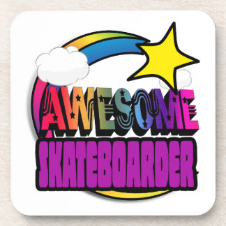 Shooting Star Rainbow Awesome Skateboarder Drink Coaster