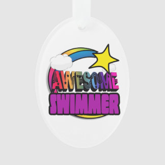 Shooting Star Rainbow Awesome Swimmer Ornament