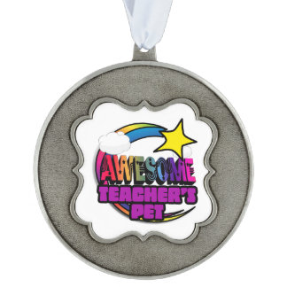 Shooting Star Rainbow Awesome Teachers Pet Scalloped Pewter Ornament