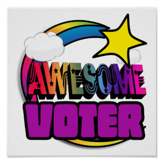 Shooting Star Rainbow Awesome Voter Print
