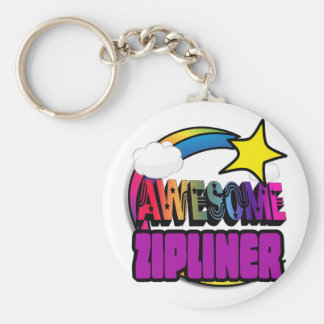 Shooting Star Rainbow Awesome Zipliner Basic Round Button Key Ring