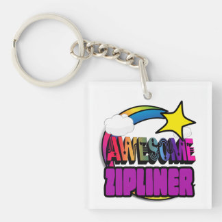 Shooting Star Rainbow Awesome Zipliner Acrylic Keychains