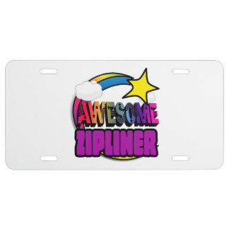 Shooting Star Rainbow Awesome Zipliner License Plate