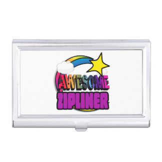 Shooting Star Rainbow Awesome Zipliner Case For Business Cards