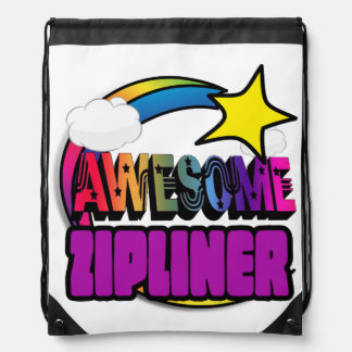 Shooting Star Rainbow Awesome Zipliner Cinch Bag