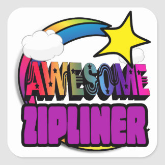 Shooting Star Rainbow Awesome Zipliner Square Sticker