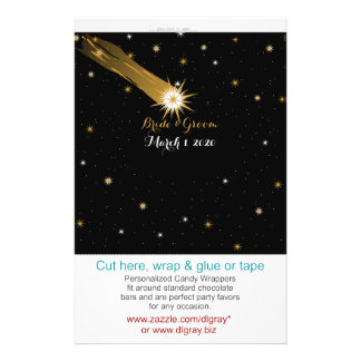 Shooting Star Romantic Wedding Candy Wrappers 14 Cm X 21.5 Cm Flyer