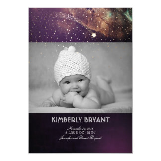 Shooting Star Starry Night Baby Photo Birth Card