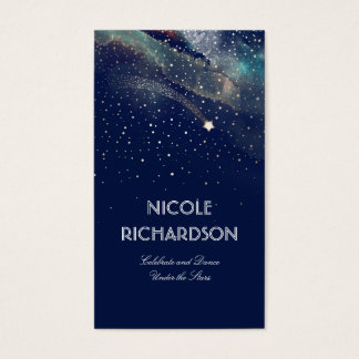 Shooting Star Starry Night Gold and Navy Modern Business Card