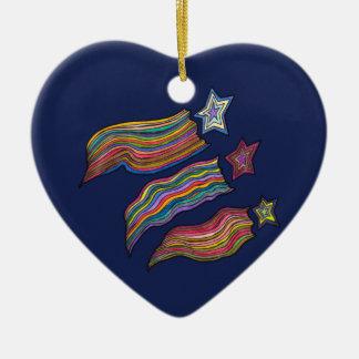 Shooting Stars Ceramic Heart Decoration