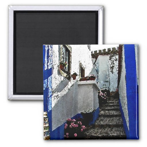 Shop and Steps in Obidos Portugal Refrigerator Magnet