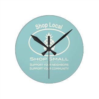 Shop Local, Shop Small cream pineapple Round Clock